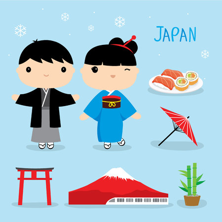 Japan Tradition Food Place Travel Asia Mascot Boy and Girl Cartoon Element Vector Stock Illustratie