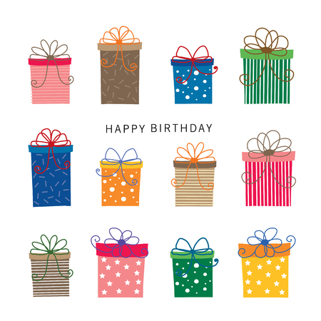 Colorful wrapped Gift Box Birthday Vector