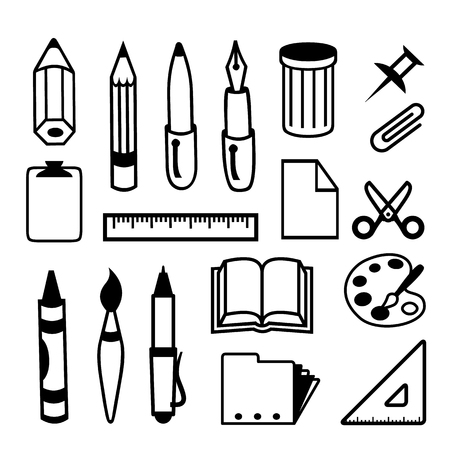 Set of Back to School and Office Stationery Object Icon Black Vector Stok Fotoğraf - 120137817