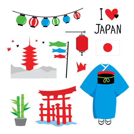 Japan Tradition Place Travel Asia Mascot Cartoon Element Vector