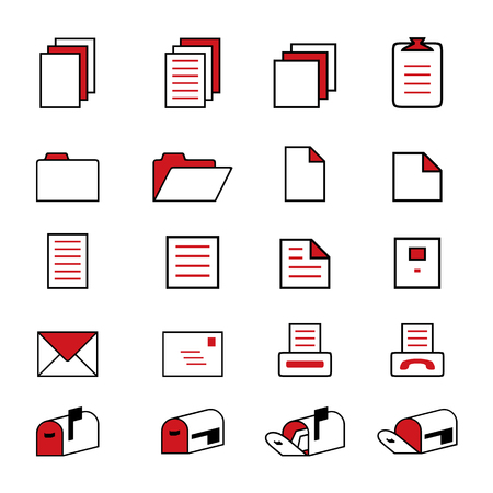 File and Folder Icons set Vector Çizim