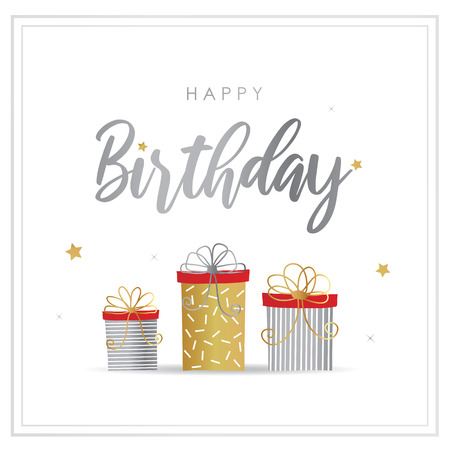 Happy Birthday Greeting Card with Gift Box Vector Stok Fotoğraf - 120137827