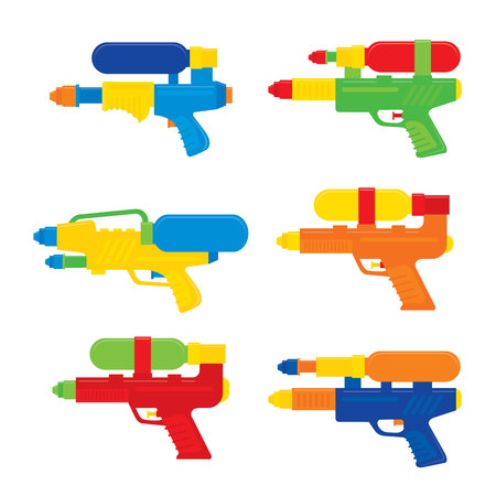 Happy Songkran Festival in Thailand  Water Gun Toy Vector