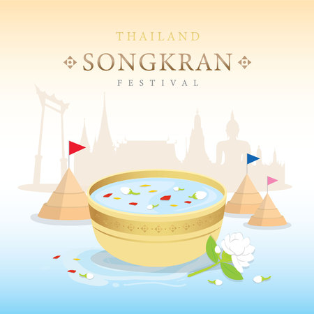 Songkran Festival Water Splash of Thailand, Thai Traditional Design Background Vector Stok Fotoğraf - 120137829