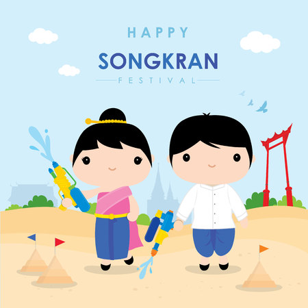 Songkran Festival Water Splash of Thailand, Thai Traditional Design Background Vector Illustration