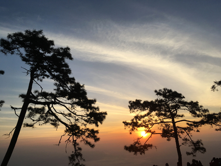 Beautiful sunset on Phukradueng national park, Loei Thailand. Background Stok Fotoğraf