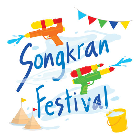 Songkran Festival Water Splash of Thailand, Thai Traditional Design Background Vector Çizim