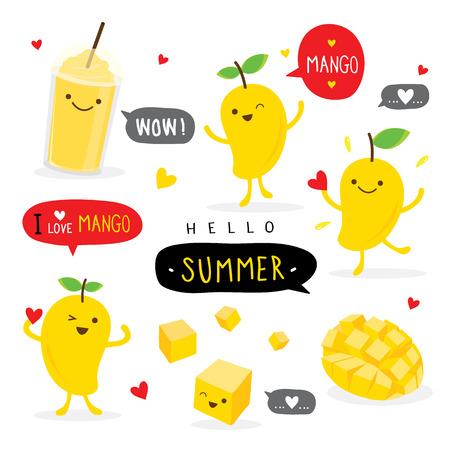 Mango Owoc Lato Kreskówka Uśmiech Śmieszne Słodkie Charakter Wektor