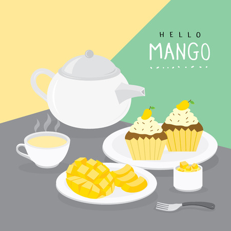 Mango Summer and Mango Cupcake with Fruit Tea Vector Stok Fotoğraf - 124883033