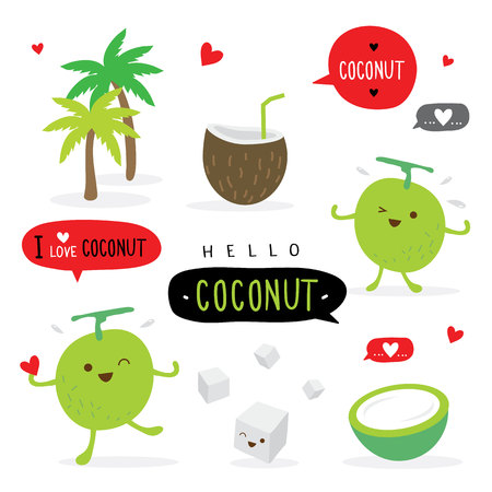 Coconut Fruit Summer Cartoon Smile Funny Cute Character Vector Çizim