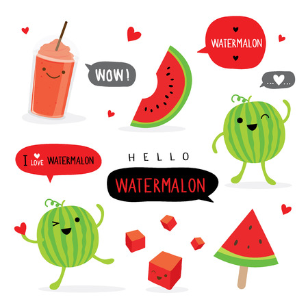 Watermelon Fruit Summer Cartoon Smile Funny Cute Character Vector Stok Fotoğraf - 124883043
