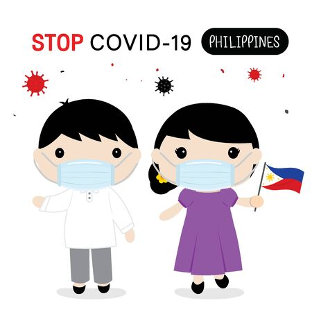 Philippines People to Wear National Dress and Mask to Protect and Stop Covid-19. Coronavirus Cartoon Vector for Infographic.