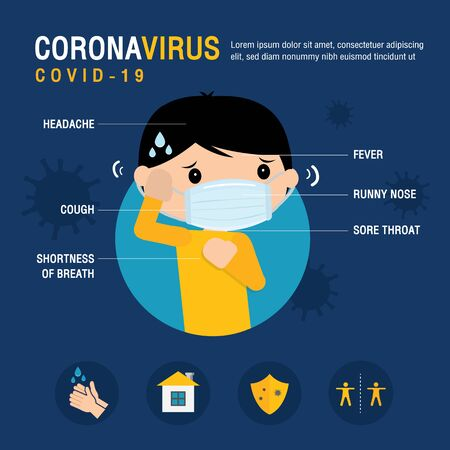 Corona virus 2019 Symptoms and Prevention Infographic. 2019-nCOV The Patient Character Cartoon Vector.