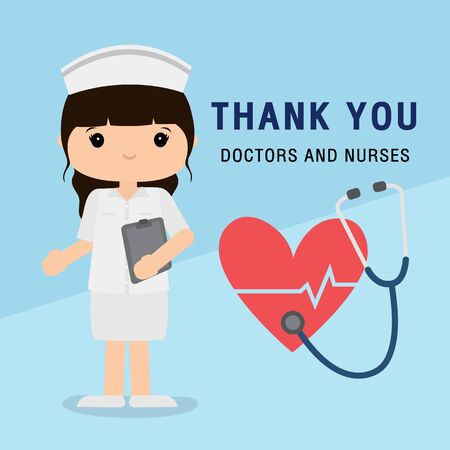 Doctor cartoon character. Thank you doctors and nurses working in the hospital and fighting the coronavirus, Covid-19 Virus Disease Vector