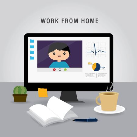 Work from home, Business team using laptop for online meeting in conference video call. People at home in quarantine. Character Cartoon Vector illustration Иллюстрация