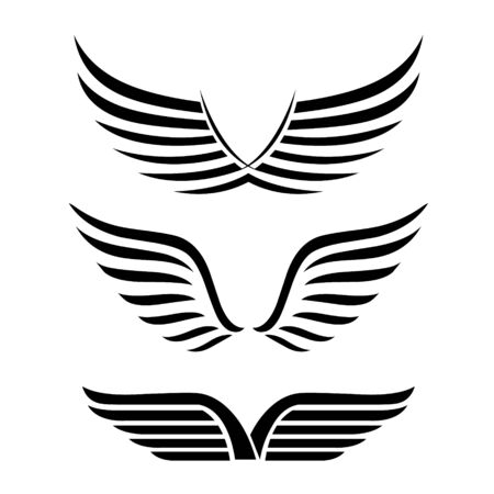 Wings. Set of Simple logo or sign element Vector illustration.