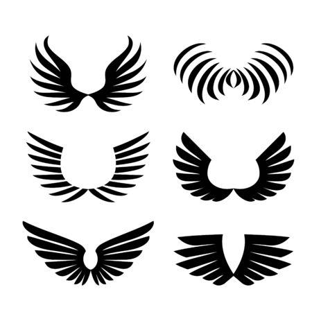 Flügel. Satz einfaches Logo oder Zeichenelement Vektorillustration.