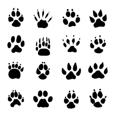 Set of Animal Spoor Footprints element Icon Vector illustration. Vecteurs