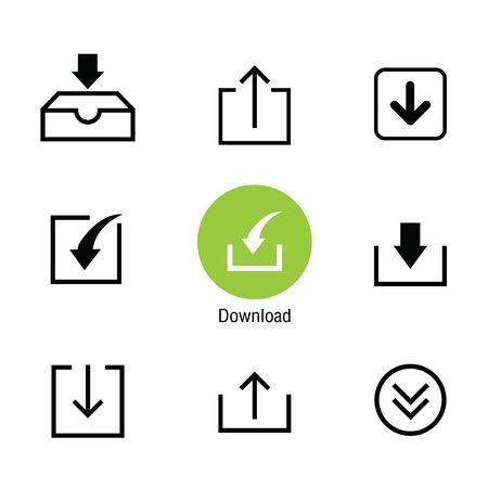 Download file and Loading icon set for website or application. Vector illustration