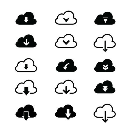 Cloud Download file and Loading icon set for website or application. Vector illustration Ilustracja
