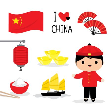 Set of China Traditional Culture Flat Icon. Food, Place, Travel, Object and National dress Cartoon. Vector illustration Ilustracja