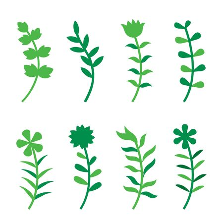 Set of Flower Flat Design Icon. Floral collection with leaves and flowers Vector illustration. Illustration