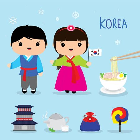 Set of Korea Traditional Culture Flat Icon. Food, Place, Travel, Object and National dress Cartoon. Vector illustration