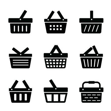 Set of Shopping Basket Flat Icon. Vector illustration Ilustracja