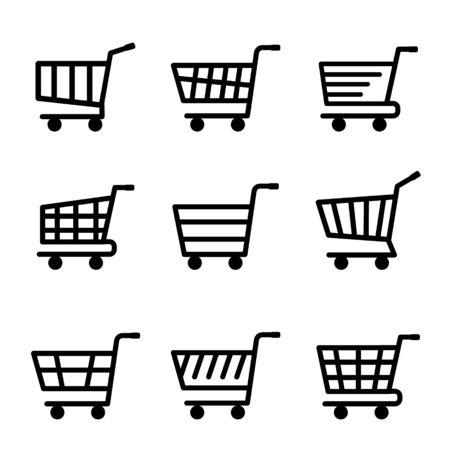Set of Shopping Cart Flat Icon. Vector illustration Ilustracja