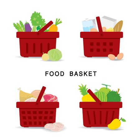 Set of shopping food baskets of organic and healthy food at Supermarket. Vegetable, Fruit, Fresh Meat and Dairy Product Food. Flat Icons Cartoon Vector illustration.