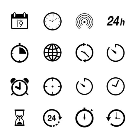 Time and Clock Flat icons button for website or application. Vector illustration
