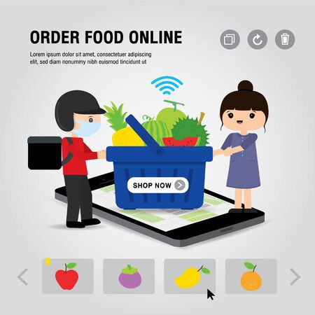 Online Food Delivery Service Concept Cartoon Vector illustration. Mobile or Smartphone open app for Online food order infographic. COVID-19. Quarantine in the city.