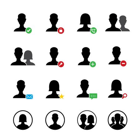 User Account icon set for website or application. Vector illustration