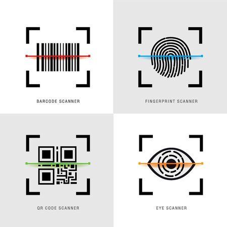 Set of Scanner Element Icon, QR Code, Barcode, Fingerprint and eye Scanner. Black Flat Design for website or application on Mobile Phone. Vector illustration