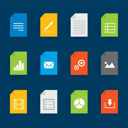 Set of File and Document Icon for website or application on mobile phone. Vector illustration