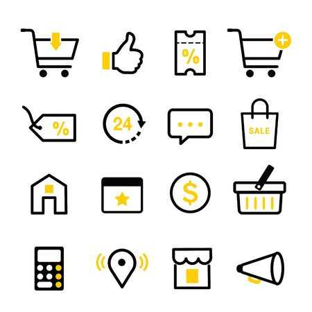 Set of E shopping commercial business Online Icon for website or application touchscreen on mobile phone. Vector illustration Ilustracja