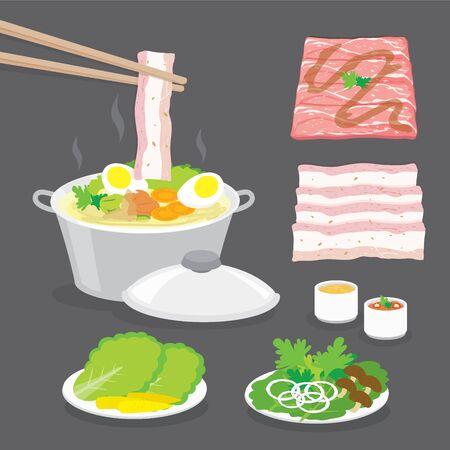 Set of Traditional Japanese food, hot pot, shabu-shabu, sukiyaki with vegetables, bacon, pork, meat slide and sauce. Cartoon Vector illustration