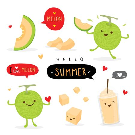 Set of fresh Japanese melons, orange melon or cantaloupe melon with smoothie. Fruit Summer Cartoon Smile Funny Cute Character Vector Ilustracja