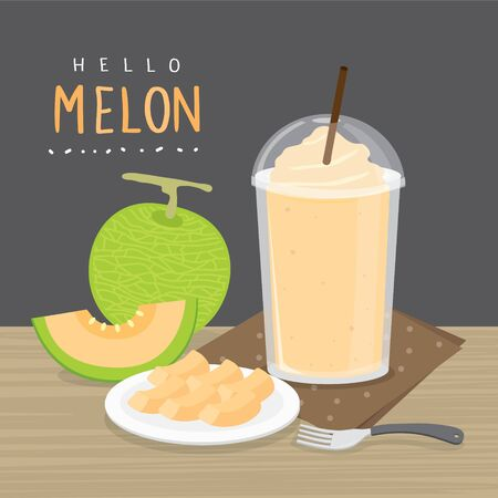 Set of fresh Japanese melons, orange melon or cantaloupe melon with smoothie. Cartoon Vector illustration Ilustracja