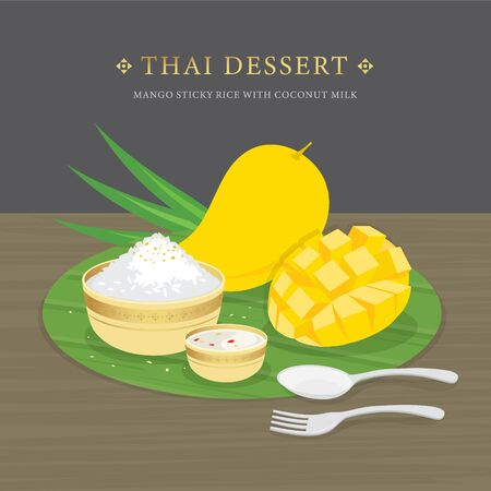 Thai Dessert, Mango and sticky rice with coconut milk and mango sauce. Cartoon Vector illustration Ilustracja