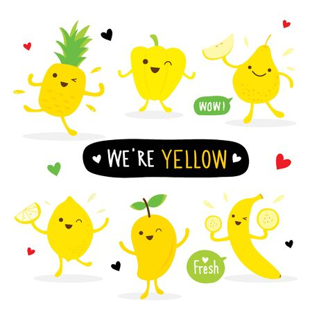 Set of Vegetable and Fruit Yellow Color Cartoon Character. Sweet Pepper, Pineapple, Lemon, Mango, Pear and Banana. Vector illustration Ilustracja