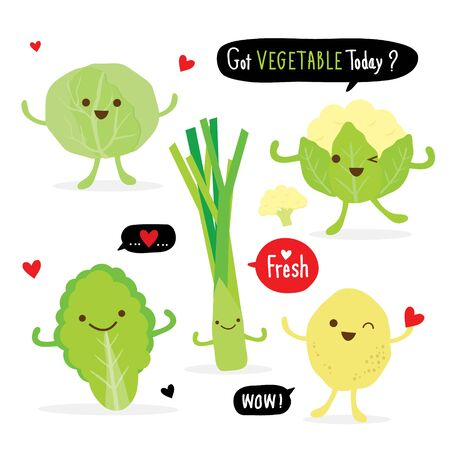 Set of Vegetable Green Color Cartoon Character. cabbage, cauliflower, onion, potato and leek. Vector illustration Ilustracja