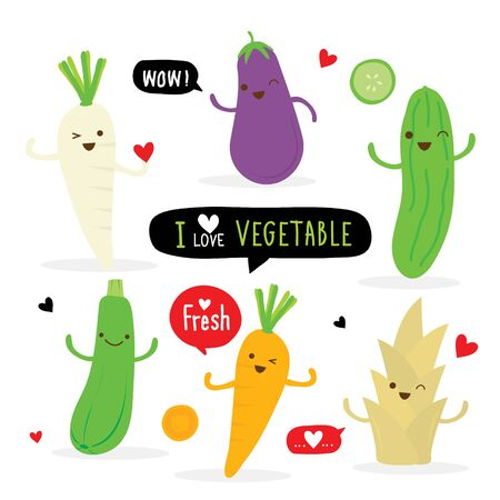 Set of Vegetable Cartoon Character. carrot, radish, eggplant, cucumber, zucchini and bamboo shoot. Vector illustration. Ilustracja