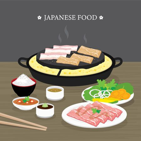 Set of Traditional Japanese food, Yakiniku version of Korean BBQ. Raw beef and pork slice cooking barbeque and grilled. Cartoon Vector illustration