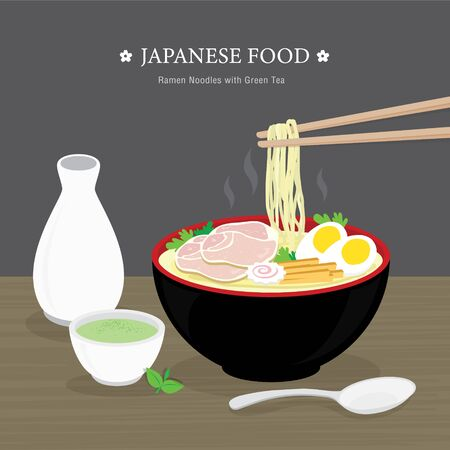 Set of Traditional Japanese food, Ramen noodle with Green Tea. Cartoon Vector illustration