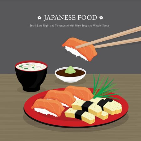 Set of Traditional Japanese food, Sushi Sake Nigiri and Tamagoyaki with Miso Soup and Wasabi Sauce. Cartoon Vector illustration