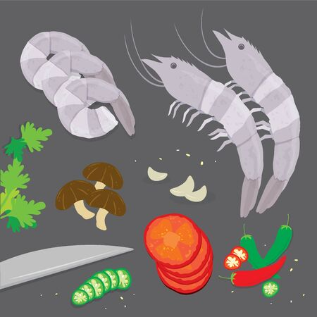 Set of Ingredient Tom Yum kung Soup Traditional Thai Food. Cartoon Vector illustration