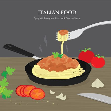 Set of Traditional Italian food, Spaghetti Bolognese Pasta with Tomato Sauce. Cartoon Vector illustration Ilustracja