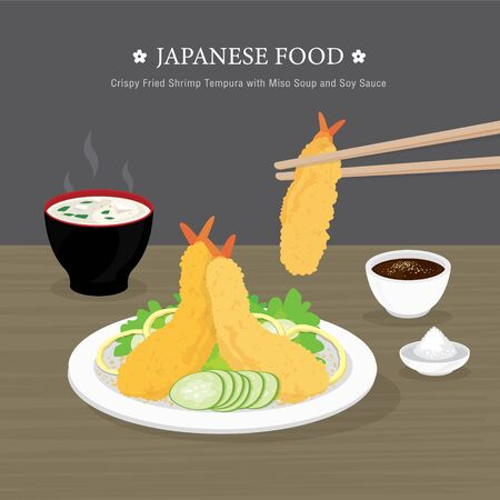 Set of Traditional Japanese food, Crispy Fried Shrimp Tempura with Miso Soup and Soy Sauce. Cartoon Vector illustration