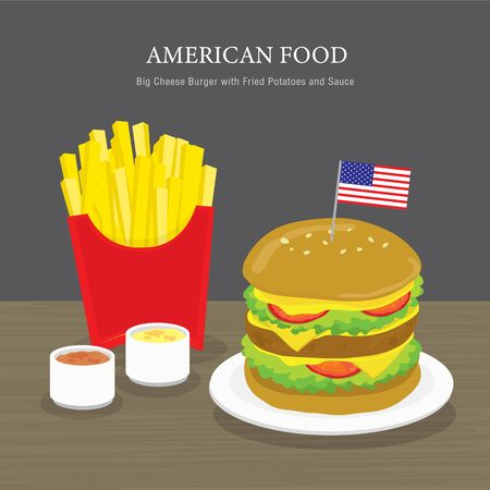 Set of Traditional American food, Big Cheese Burger with Fried Potatoes and Sauce. Cartoon Vector illustration